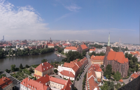 The panorama of the Isle of Ostrow Tumski and Piasek seen from the tower of the Cathedral of St John The Baptist, Wroclaw, Poland