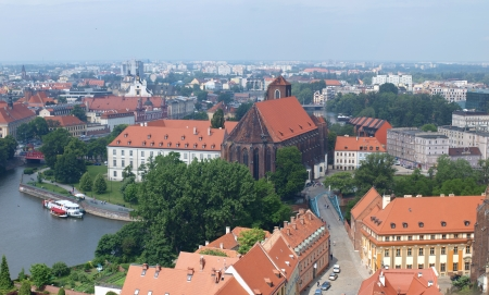 The panorama of the Tumski and Piasek isles seen from the tower of the Cathedral of St John The Baptist, Wroclaw, Poland  Editorial