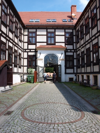 The courtyard of the Papal Faculty of Theology , Wroclaw, Poland. A fine example of a well-preserved timber-framing. Stock Photo - 14146193