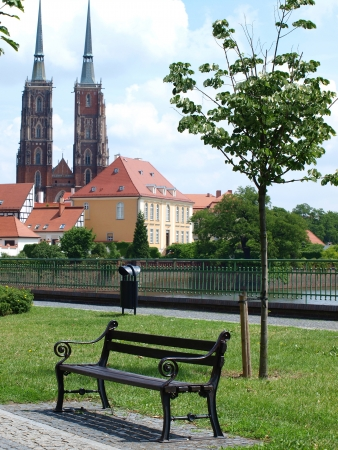 The view of the Tumski Isle from the boulevard in the Piasek Isle (Ostrow Tumski), Wroclaw, Poland Stock Photo - 14223502