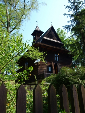Zakopane-style wooden church of St  Charles Borromeo, Naleczow, Poland Stock Photo - 14592419