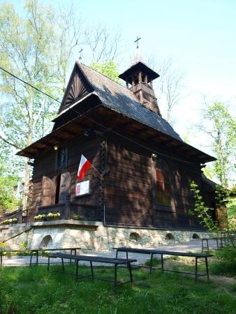 st charles: Zakopane-style wooden church of St  Charles Borromeo, Naleczow, Poland