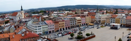 archbishop: Kromeriz with the Great Market Square seen from the tower of the Archbishop Palace, Kromeriz, Czech Republic Editorial