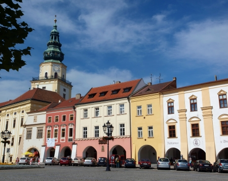 Great Market Square with the tower of the Archbishop Palace, Kromeriz, Czech Republic