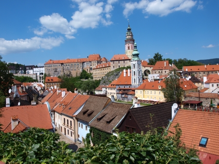 Panorama of Cesky Krumlov, Czech Republic Stock Photo