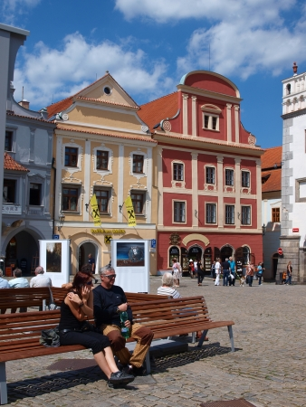 The main market square in Cesky Krumlov, Czech Republic