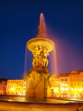 Samson Fountain at night, Ceske Budejovice, Czech Republic Stock Photo