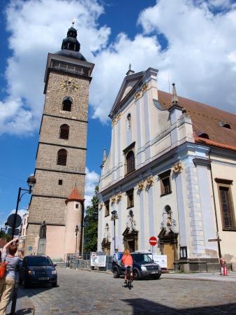 budejovice: Cathedral of Saint Nicholas and the Black Tower, Ceske Budejovice, Czech Republic Editorial
