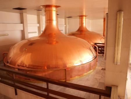 brouwerij: Malthouse op de Budvar brouwerij, Ceske Budejovice, Tsjechië