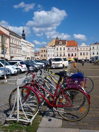 budejovice: Bicycles parked on Premysl Otakar Square, Ceske Budejovice