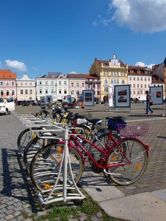 ceske: Bicycles parked on Premysl Otakar Square, Ceske Budejovice