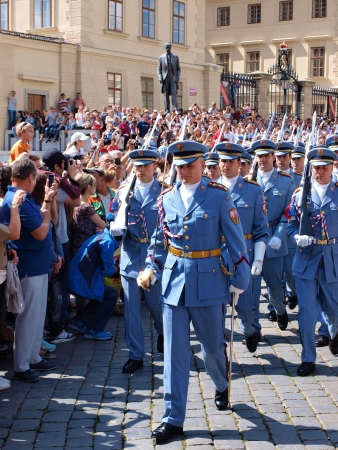 The changing of the guard at the Prague castle, Prague, Czech Republic