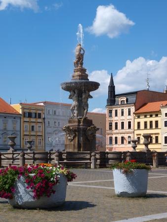 budejovice: Samson fountain at Premysl Otakar II Square, Ceske Budejovice, Czech Republic