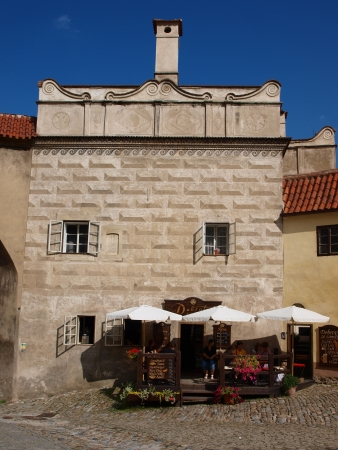 New pharmacy at the first courtyard of the castle, Cesky Krumlov, Czech Republic