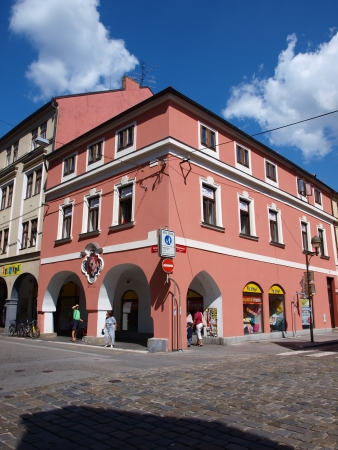 tenement: Colourful tenement house in Ceske Budejovice, Czech Republic