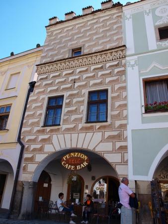 republika: Facades of tenement houses at Zacharias of Hradec Square, Telc, Czech Republic