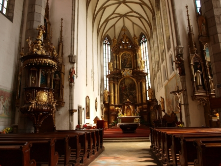 nave: The nave of the Cathedral of St Vitus, Cesky Krumlov, Czech Republic