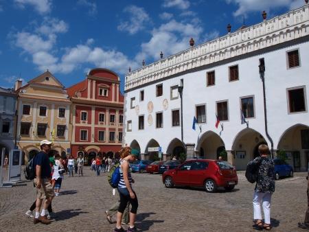 cityhall: Svornosti Square in Cesky Krumlov, Czech Republic