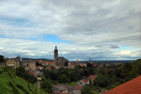 The panoramic picture of Kutna Hora with the bell tower of St James Church, Czech Republic