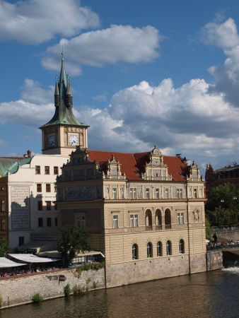 Museum of Bedrich Smetana seen from Charles Bridge, Prague, Czech Republic