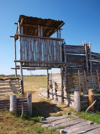 burg: Reconstruction of an early-medieval burg and settlement, Zmijowiska, Poland.