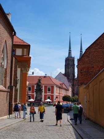 A street with the towers of the Cathedral of St John The Baptist, Wroclaw, Poland