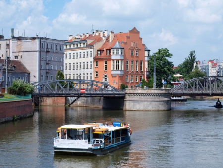 A trip boat on Oder River, Wroclaw, Poland Stock Photo - 15484658