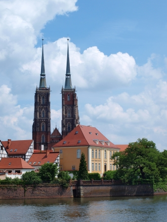 A view of Tumski Isle with the Cathedral of St John The Baptist from the Piasek Island, Wroclaw, Poland Stock Photo - 15484655