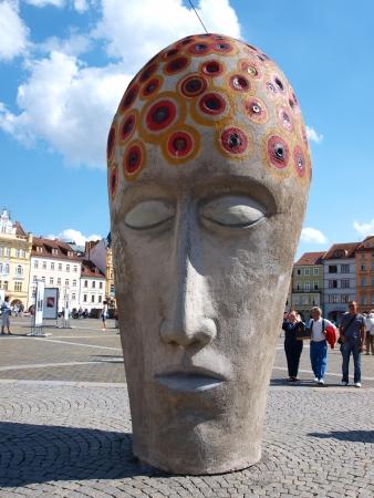 ceske: Sculpture at Premysl Ottokar II Square, Ceske Budejovice, Czech Republic