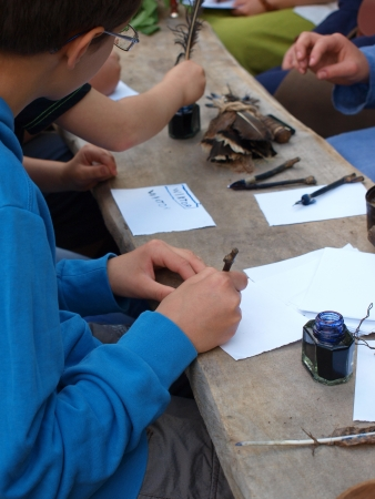 reconstructing: Writing with a nib at a historical reanactment event, Zawieprzyce, Poland