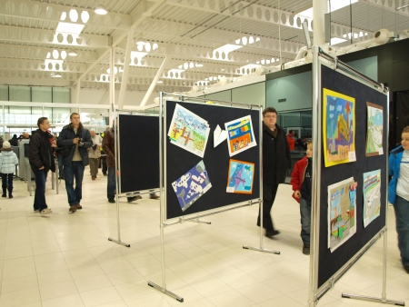 lubelszczyzna: The exhibition of childrens drawings, at the Open Day at the new Lublin Airport, Swidnik, Poland, 1st December 2012