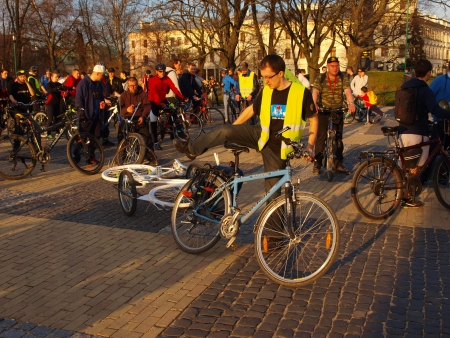 The first Ghost Bike event in Lublin, Lublin, Poland, April 17th 2013 Stock Photo - 19133826