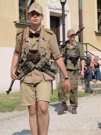 lubelszczyzna: Soldiers in German uniform as used during the battle of Monte Cassino in 1944.  Historical picnic Memorial of Polish II Corps, Lublin, Poland, May 12th 2013 Editorial