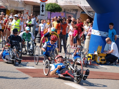 lubelszczyzna: The disabled at the start of the first Lublin Marathon, 8th June 2013, Lublin, Poland