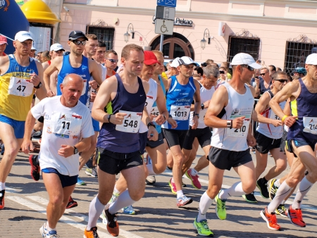lubelszczyzna: Participants of the start of the first Lublin Marathon, 8th June 2013, Lublin, Poland