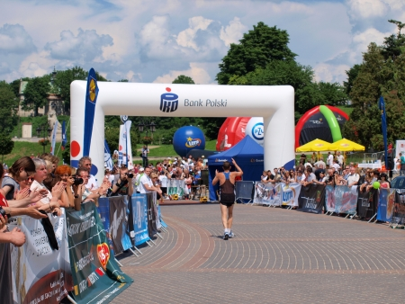 lubelszczyzna: The finish of the start of the first Lublin Marathon, 8th June 2013, Lublin, Poland