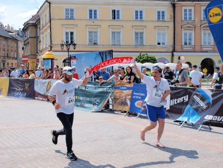 The finish of the start of the first Lublin Marathon, 8th June 2013, Lublin, Poland