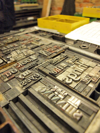 typeset: Old lead letters used for typeset printing