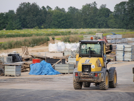 vibrator: The building site of Lublin ring road, Lublin, Poland, August 3rd 2014 Editorial