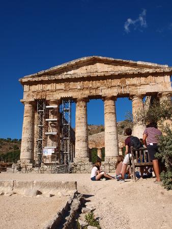 egesta: Elymian temple in Doric style, Segesta, Sicily, Italy