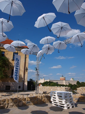 temporarily: The artistic installation of Philips within the Carnaval of Fine-Champions 23rd-26th July 2015 after the Parish Church Square, temporarily called the Philips Brothers Square, Lublin, Poland, 24th July 2015
