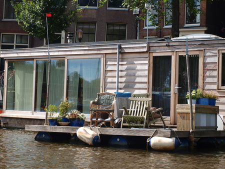 reside: Floating home on Amsterdam canal, Netherlands Editorial