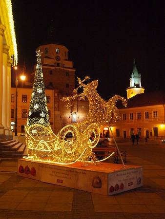 sledging people: Christmas in Lublin, Poland