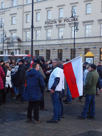 demonstrator: Mass meeting in defense of free media in Poland, Lublin, Poland, January 9th 2016