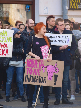 abortion: Poles protest Possibility of total ban on abortion, Lublin, Poland, April 2th 2016