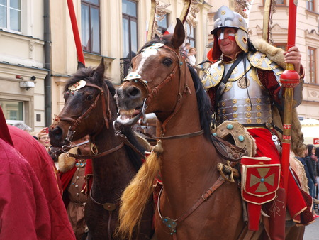 reconstruct: Polish hussars at the celebrations of the Constitution of May 3rd 1791, Lublin, Poland 03.05.2016 Editorial