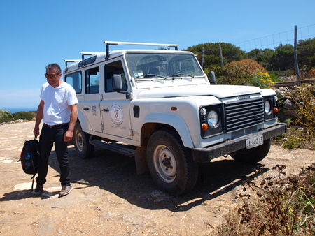 Tourists going by jeep to visit Grotto Genovese, Isle of Levanzo, Sicily, Italy Editorial