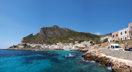 Levanzo port and town, Isle of Levanzo, Sicily, Italy
