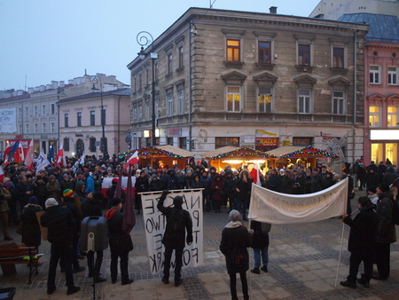 hatred: Protest against hatred, racism and facism in Lublin, Poland 12.17.2016