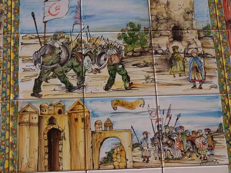 troop: Sicilian history on ceramic tiles, Mazara del Vallo, Sicily, Italy